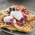 Norwegian waffles with berries and ice cream