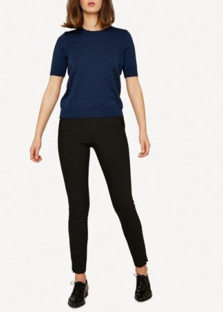 Oleana wool silk top with dots blue - Mall of Norway - Norwegian Brands - Women / T Shirts