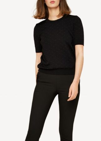 Oleana wool silk top with dots black - Mall of Norway - Norwegian Brands - Women / T Shirts